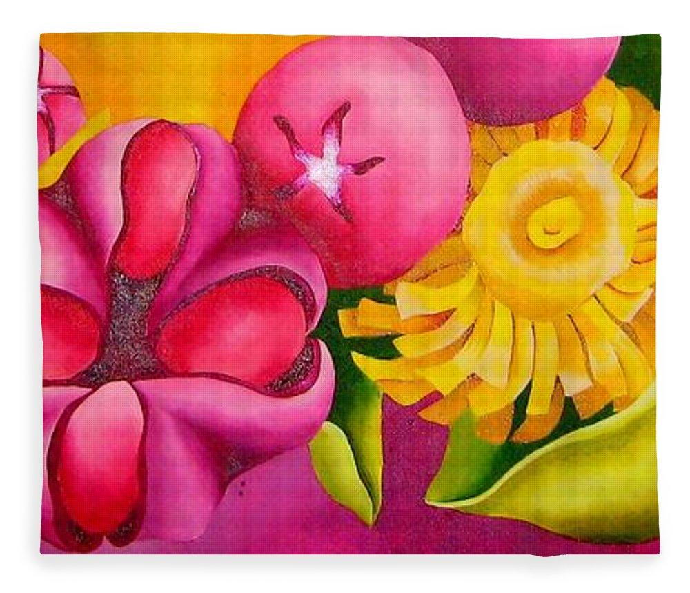 Spatterdock Flower Fleece Blanket featuring the painting Spatterdock - Panel 3 Of 3 by Elizabeth Elequin