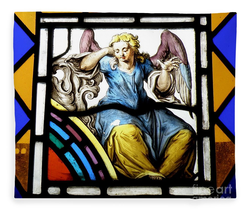 Angle Fleece Blanket featuring the photograph Stained Glass Angel by Lainie Wrightson