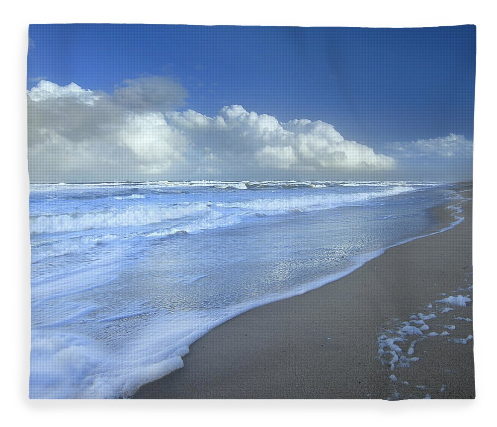 Mp Fleece Blanket featuring the photograph Storm Cloud Over Beach, Canaveral by Tim Fitzharris