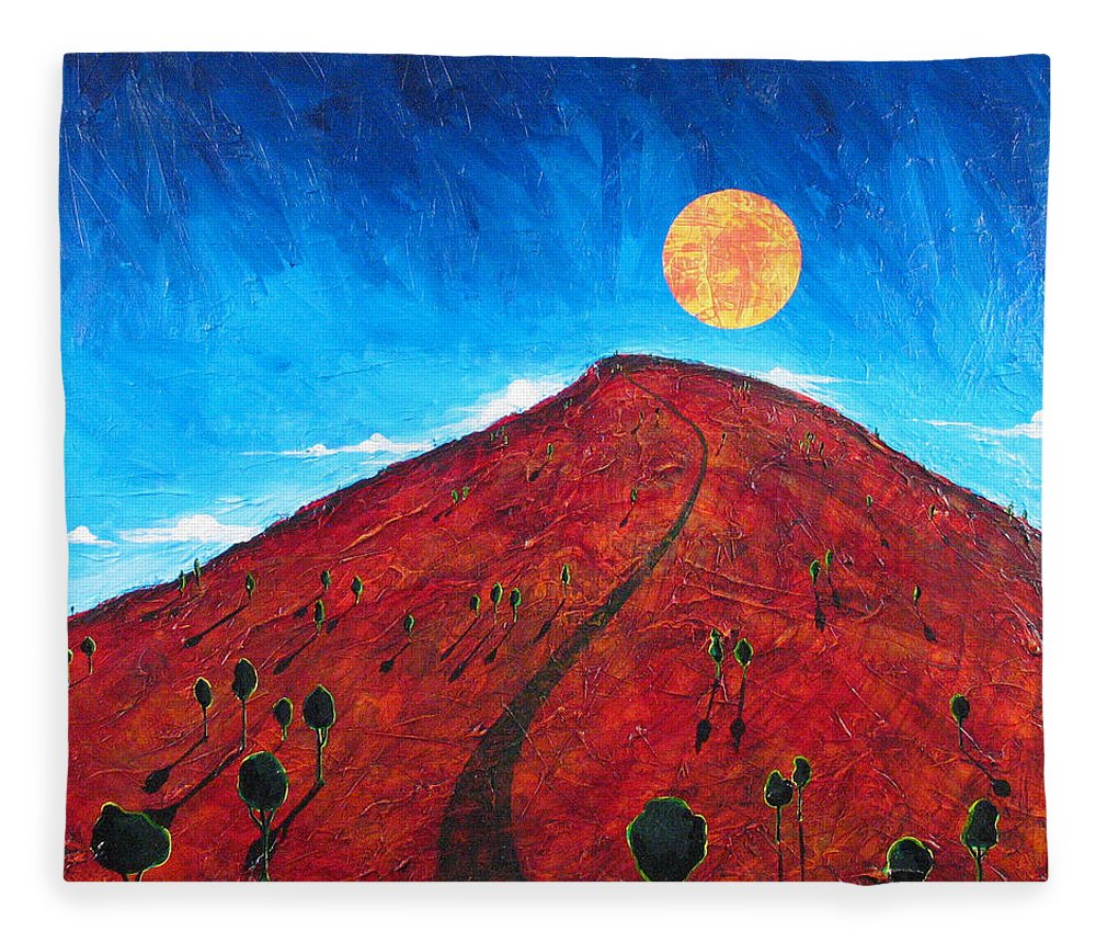 Landscape Fleece Blanket featuring the painting Sun Over Red Hill by Rollin Kocsis