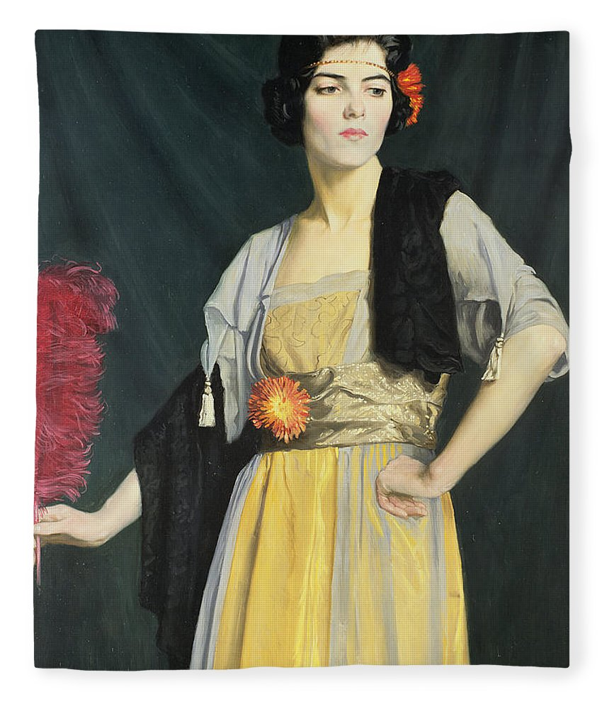 Wrap; Headband; Ostrich Feather; Madame Butterfly Fleece Blanket featuring the painting The Feather Fan by William Strang