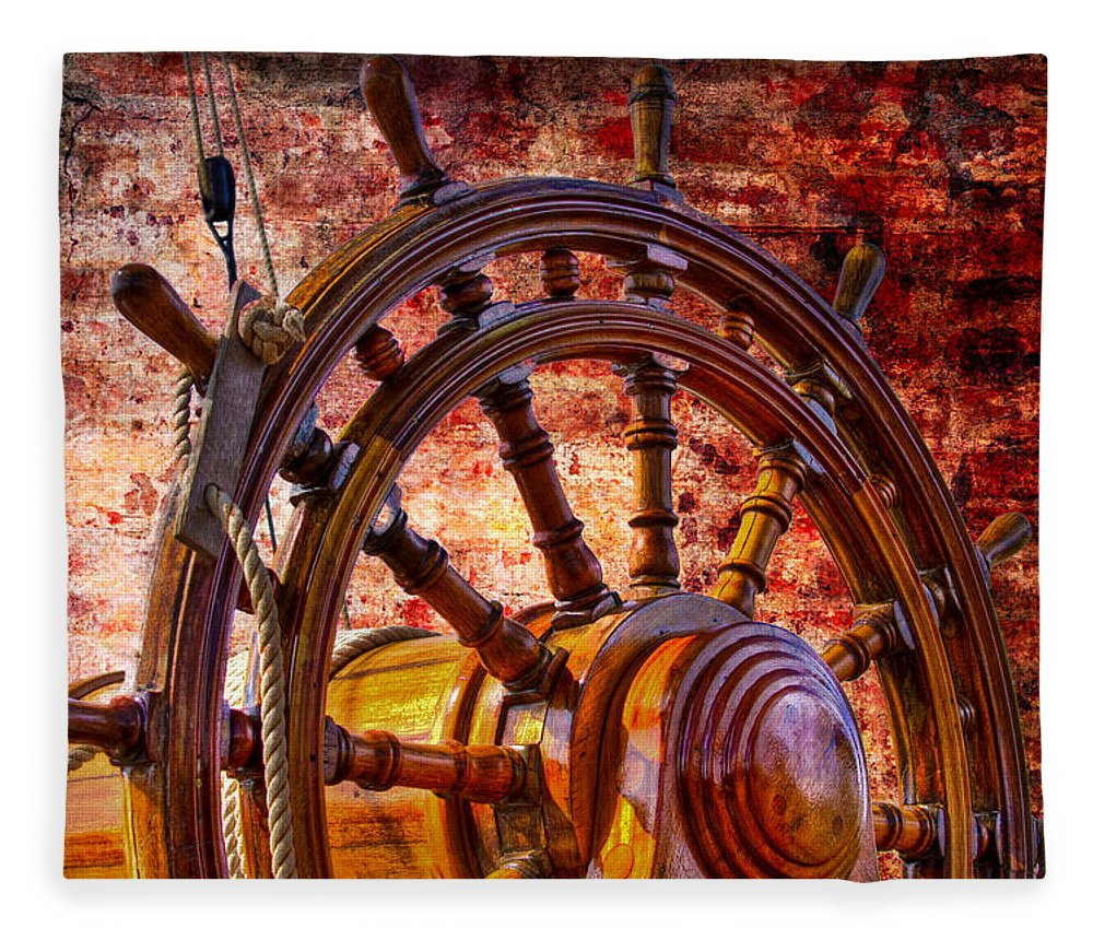Boats Fleece Blanket featuring the photograph The Helm by Debra and Dave Vanderlaan