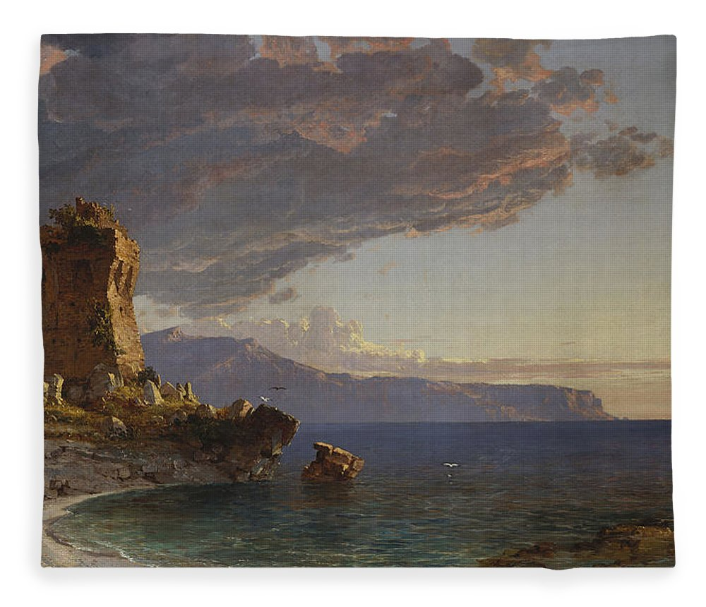 The Isle Of Capri Fleece Blanket featuring the painting The Isle Of Capri by Jasper Francis Cropsey
