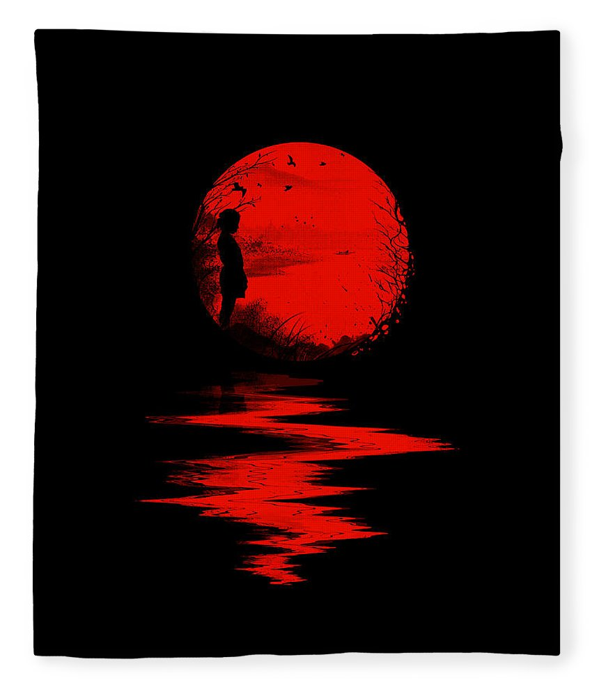 Art Fleece Blanket featuring the digital art The Land of the Rising Sun by Nicebleed