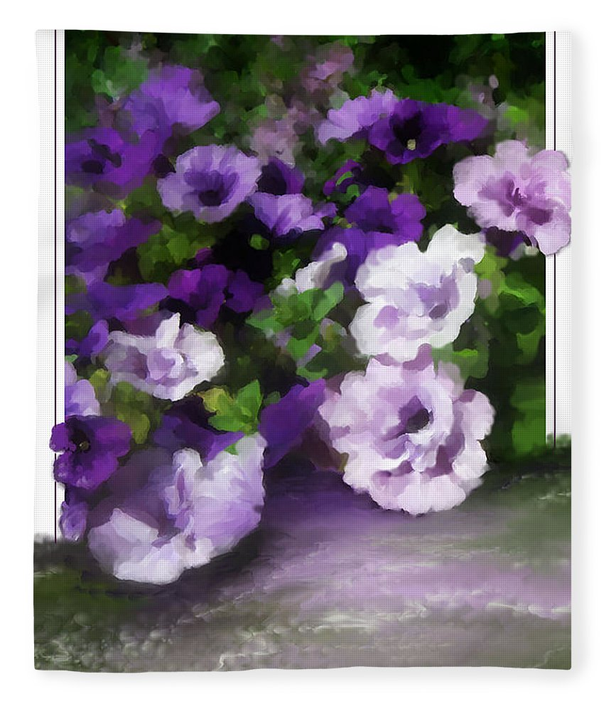 Greeting Card Fleece Blanket featuring the painting Thinking of You by Susan Kinney