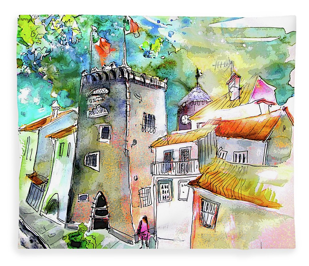 Portugal Fleece Blanket featuring the painting Tower in Ponte de Lima in Portugal by Miki De Goodaboom