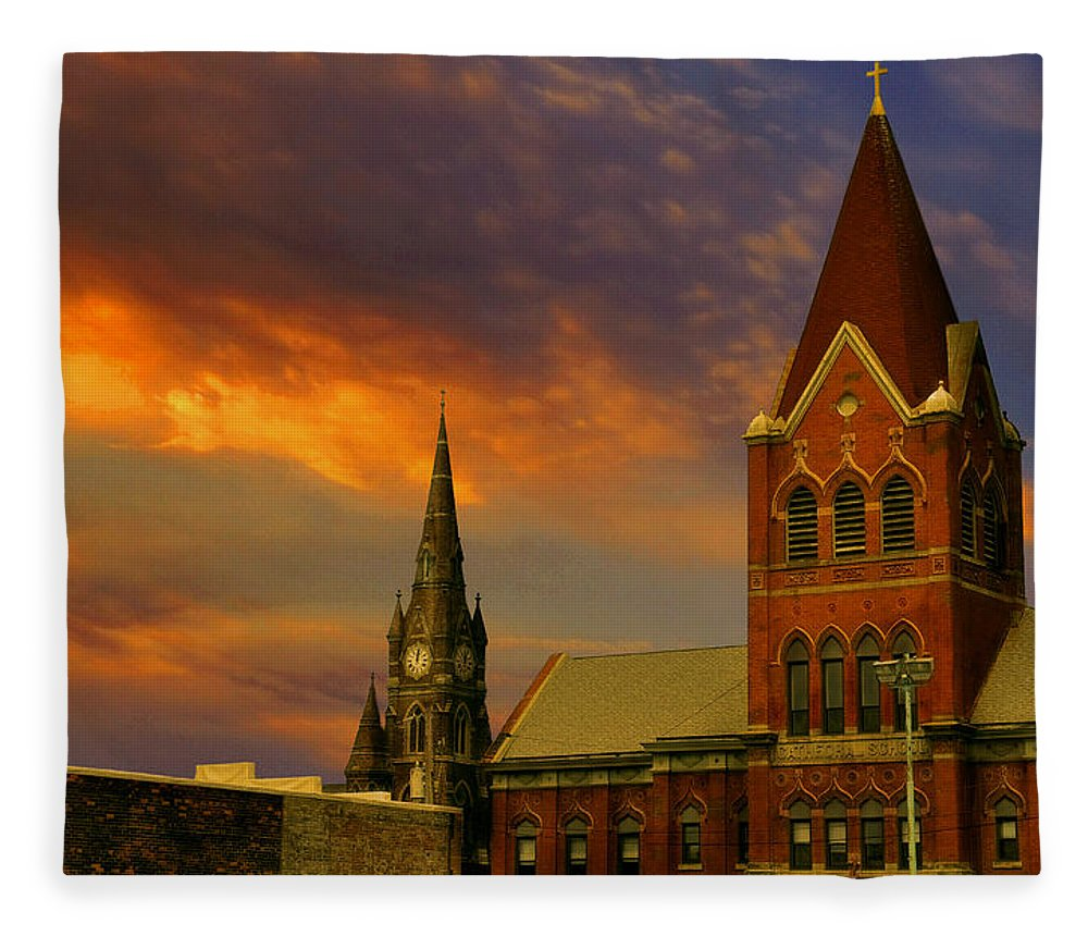 Church Fleece Blanket featuring the photograph Towers Of Faith by Brian Fisher