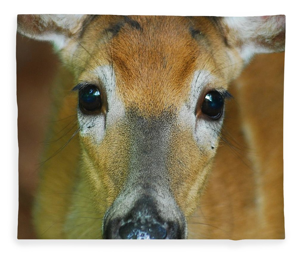 Animal Fleece Blanket featuring the photograph Up Close 7532 by Michael Peychich