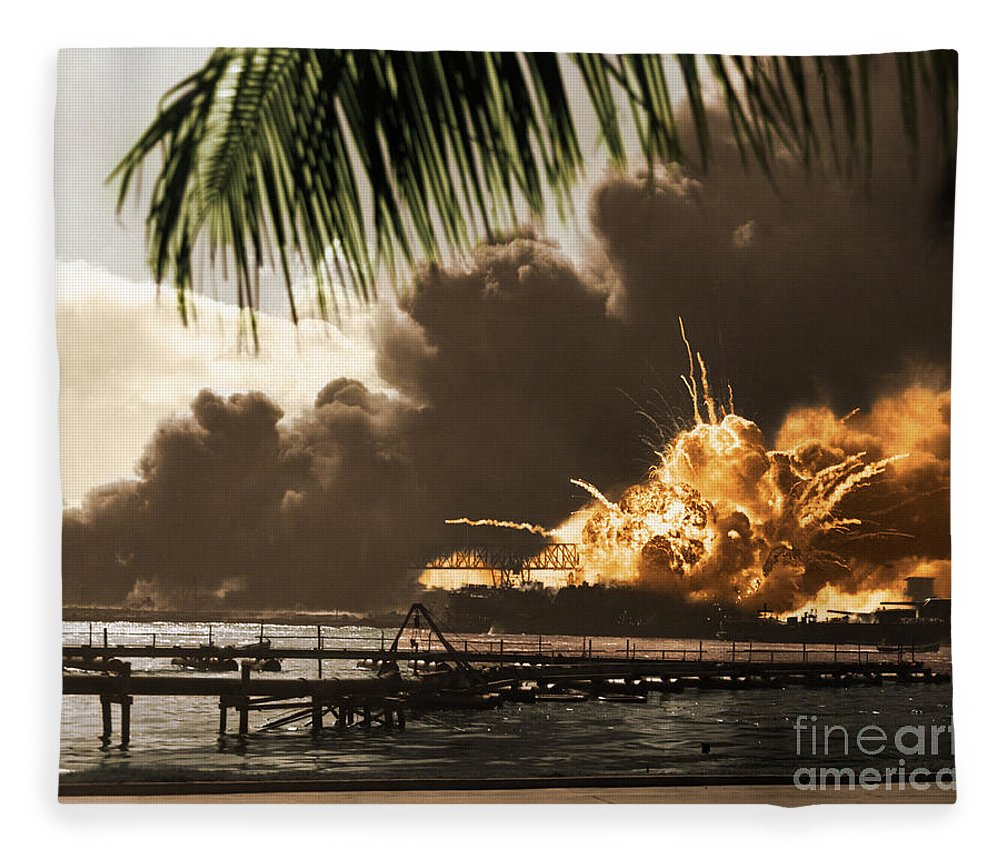 History Fleece Blanket featuring the photograph U S S Shaw Pearl Harbor December 7 1941 by Photo Researchers