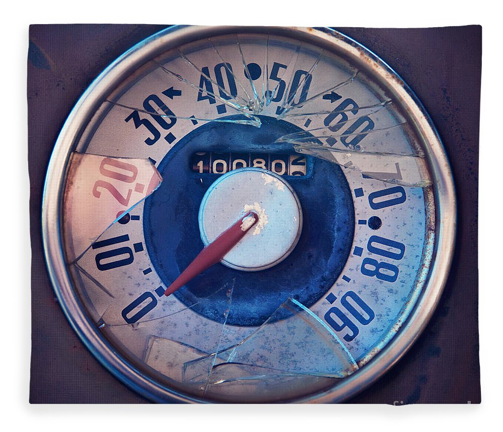 Vintage Fleece Blanket featuring the photograph Vintage Speed Indicator by Priska Wettstein