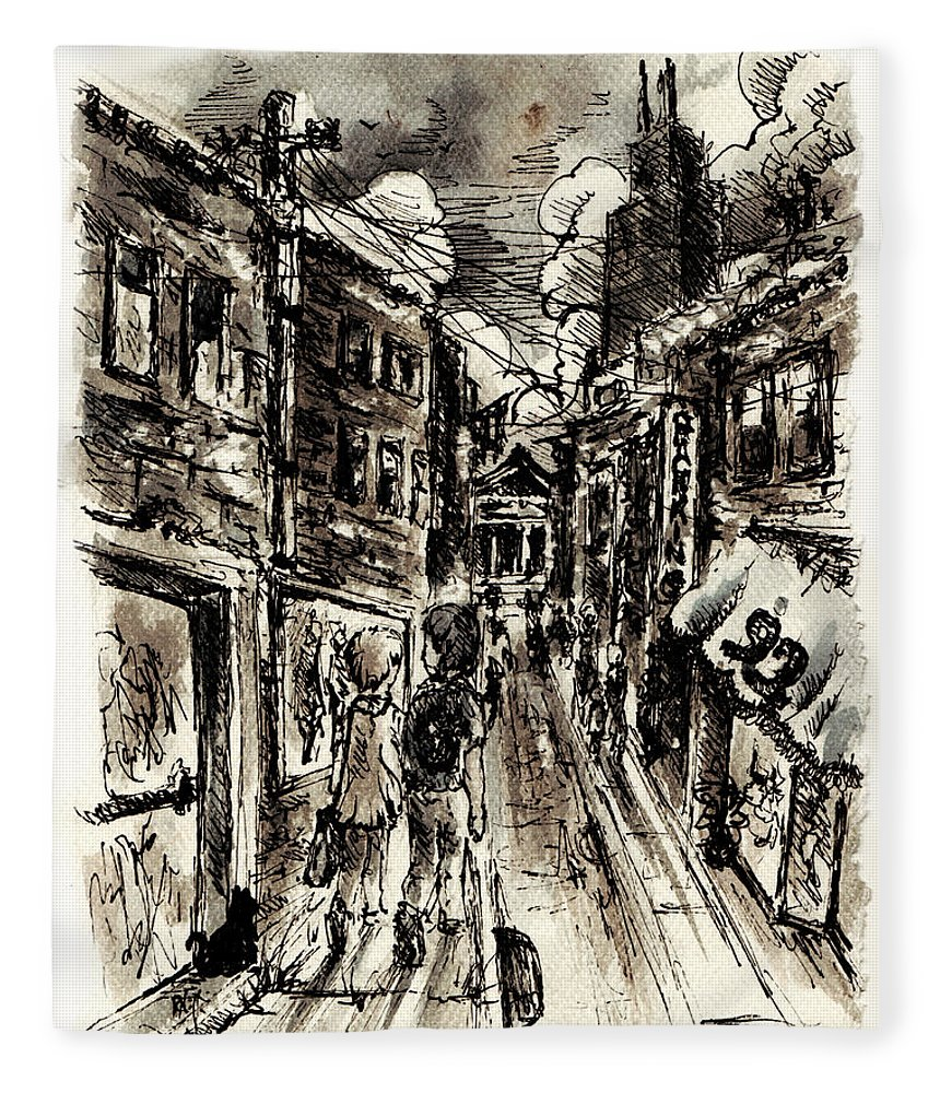 City Fleece Blanket featuring the painting Walkin In The City by William Russell Nowicki
