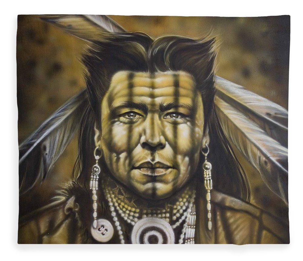 Native American Fleece Blanket featuring the painting Warpath by Timothy Scoggins