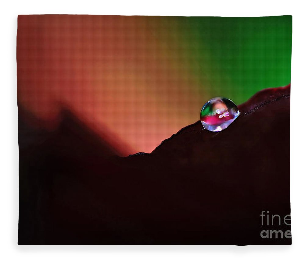 Photography Fleece Blanket featuring the photograph Water Droplet At Dusk by Kaye Menner