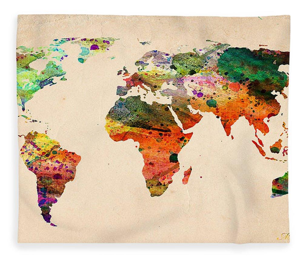 Watercolor world map fleece blanket for sale by mark ashkenazi landmark fleece blanket featuring the digital art watercolor world map by mark ashkenazi gumiabroncs Images