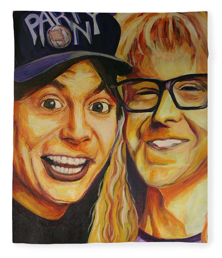 Wayne's World Fleece Blanket featuring the painting Wayne And Garth by Kate Fortin