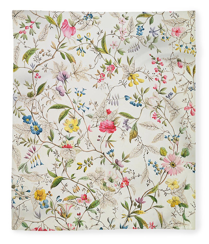 Kilburn Fleece Blanket featuring the painting Wild flowers design for silk material by William Kilburn