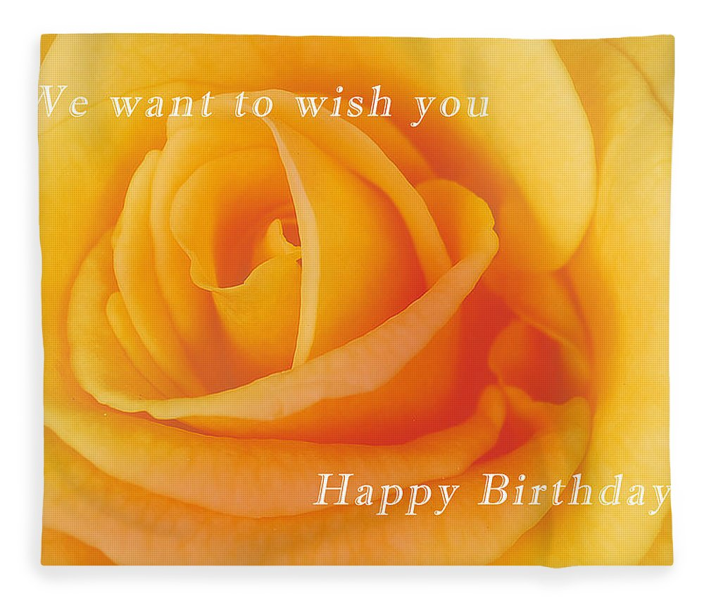 Yellow Rose Birthday Card Fleece Blanket For Sale By Michael Peychich