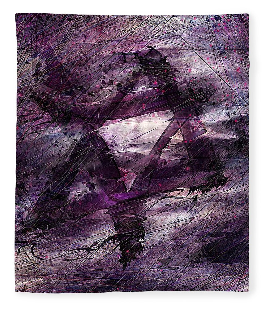 Abstract Fleece Blanket featuring the digital art . . . When We Remembered Zion by Rachel Christine Nowicki
