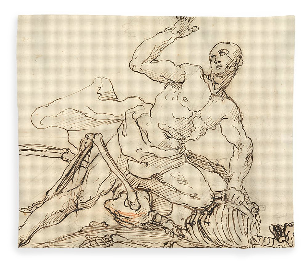 William Hogarth Fleece Blanket featuring the drawing George Taylor's Epitaph - George Taylor Breaking The Ribs Of Death by William Hogarth