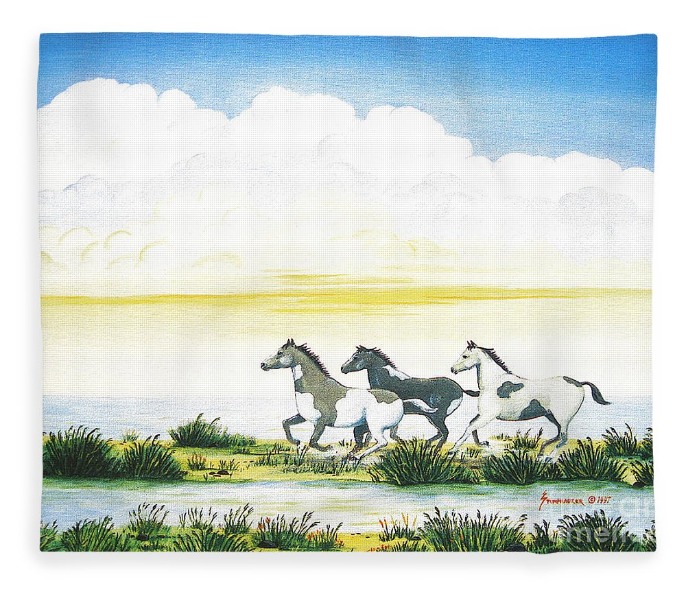 Chincoteague Fleece Blanket featuring the painting Indian Ponies by Jerome Stumphauzer