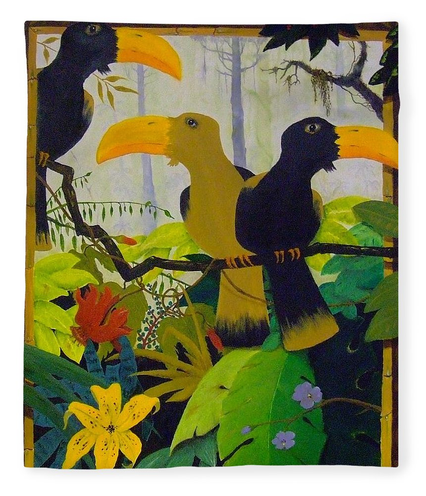 Jungle Fleece Blanket featuring the painting Jungle Boogie by Patrick Trotter