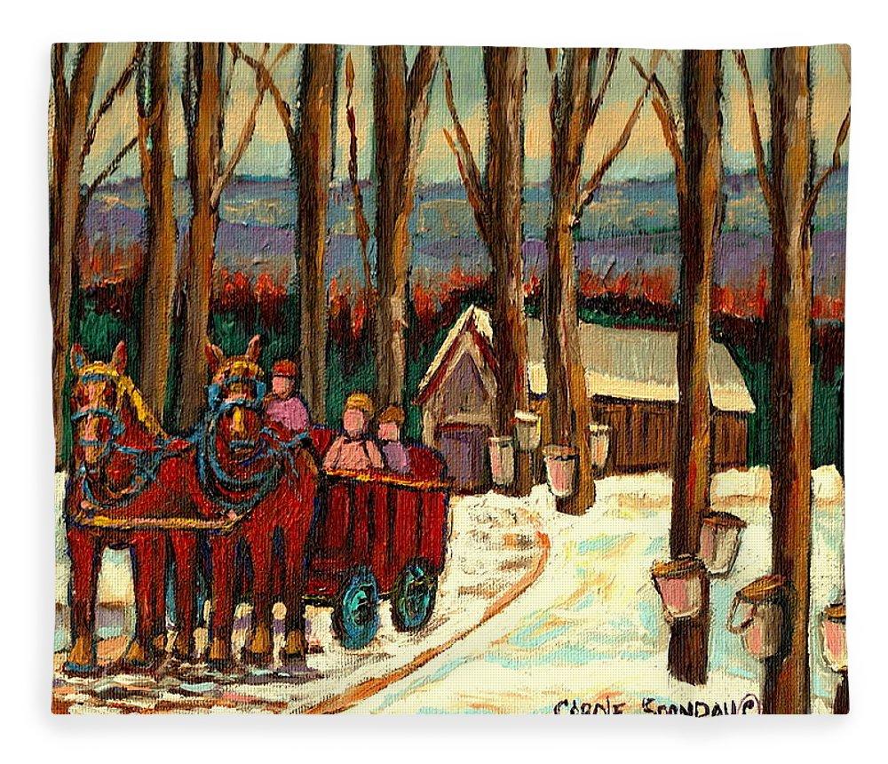 Sugar Shack By Carole Spandau Fleece Blanket featuring the painting Sugar Shack by Carole Spandau
