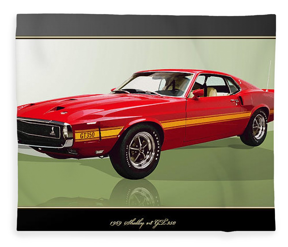 Wheels Of Fortune By Serge Averbukh Fleece Blanket featuring the photograph 1969 Shelby v8 GT350 by Serge Averbukh