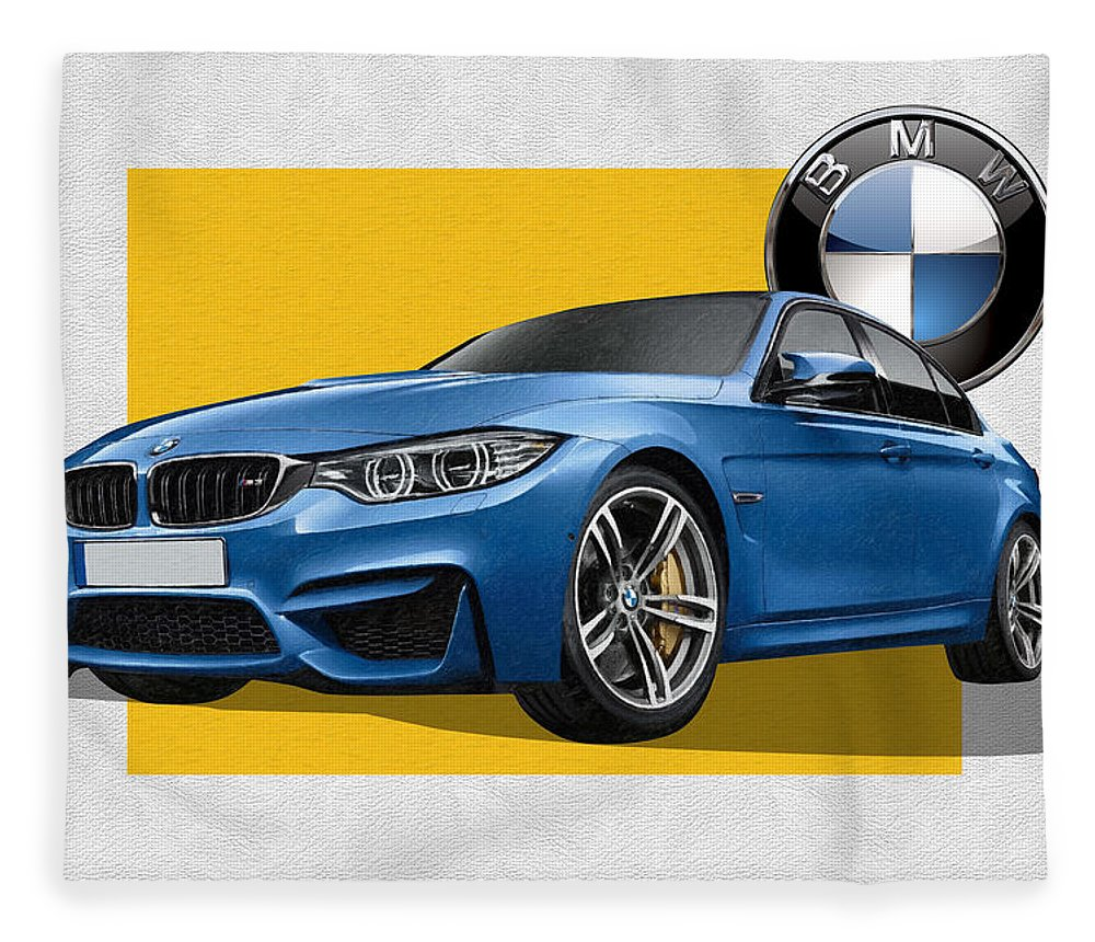 �bmw� Collection By Serge Averbukh Fleece Blanket featuring the photograph 2016 B M W M 3 Sedan with 3 D Badge by Serge Averbukh
