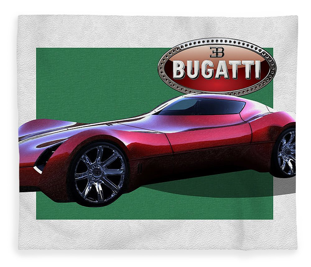 �bugatti� By Serge Averbukh Fleece Blanket featuring the photograph 2025 Bugatti Aerolithe Concept with 3 D Badge by Serge Averbukh