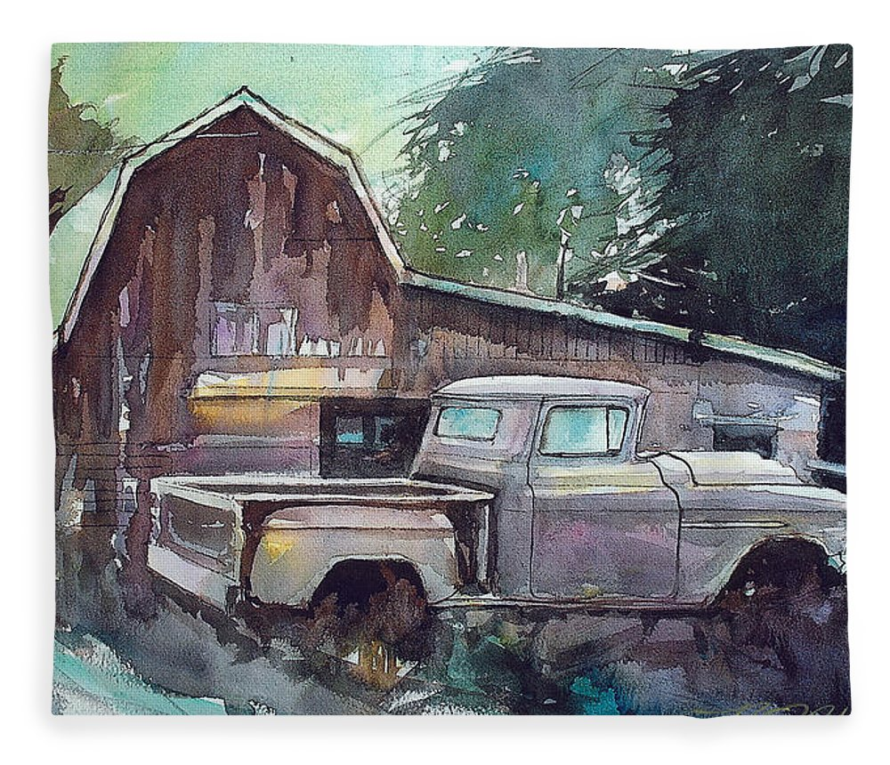 56 Chev Truck Fleece Blanket featuring the painting 56 Chevy Truck by Ron Morrison