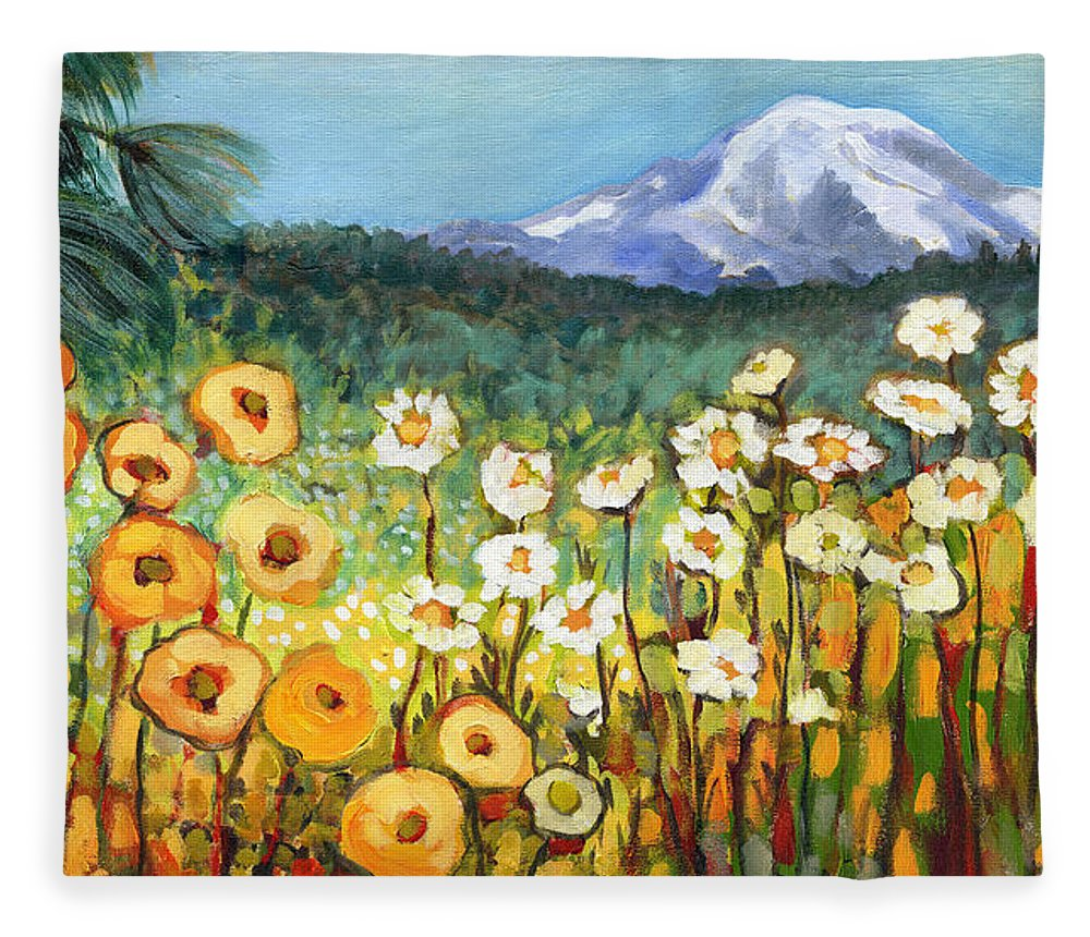 Rainier Fleece Blanket featuring the painting A Mountain View by Jennifer Lommers