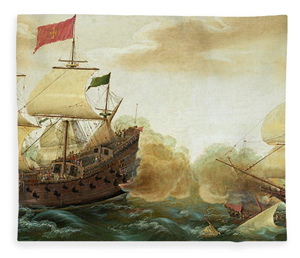 Cornelis Verbeeck Fleece Blanket featuring the painting A Naval Encounter Between Dutch And Spanish Warships by Cornelis Verbeeck