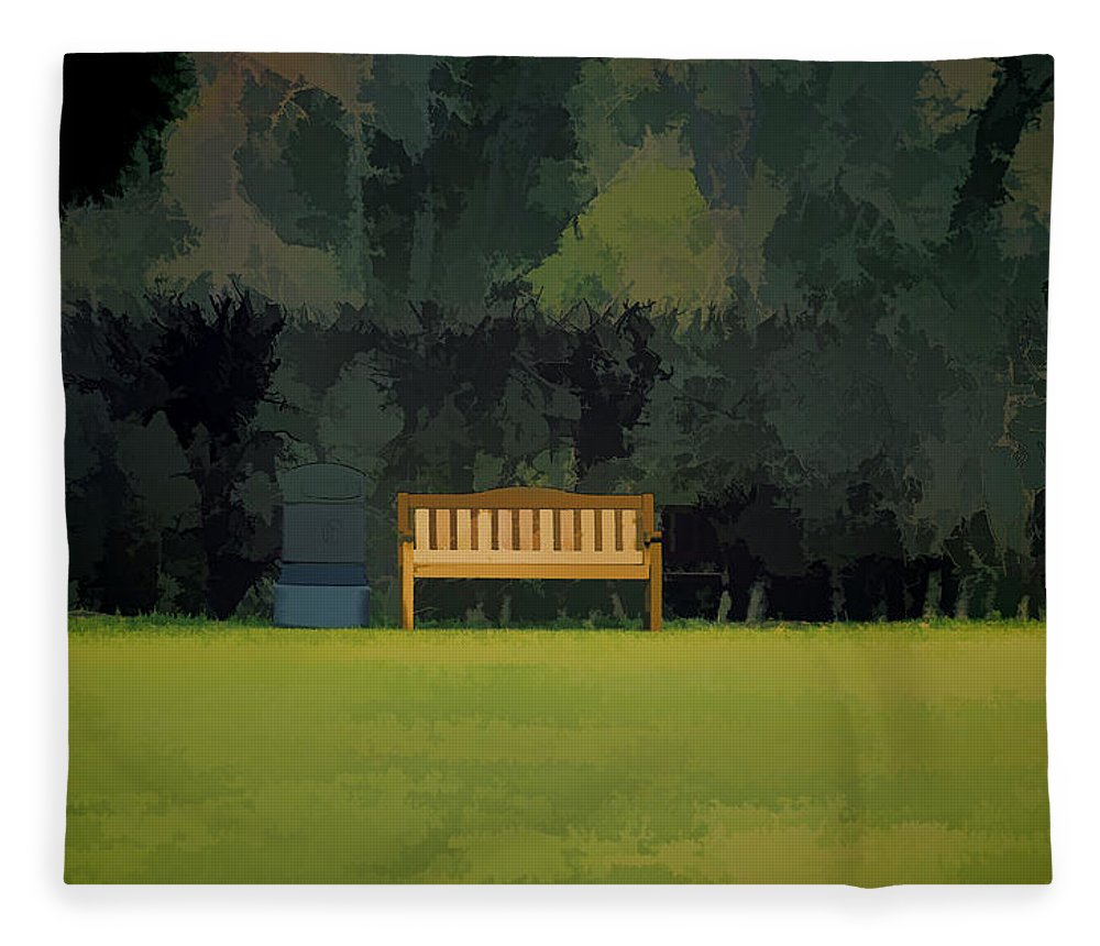 Bench Fleece Blanket featuring the photograph A Trash Can And Wooden Benches In A Small Grassy Area by Ashish Agarwal