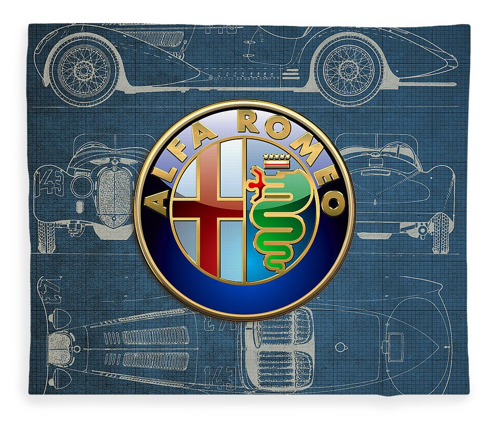 �wheels Of Fortune� By Serge Averbukh Fleece Blanket featuring the photograph Alfa Romeo 3 D Badge over 1938 Alfa Romeo 8 C 2900 B Vintage Blueprint by Serge Averbukh