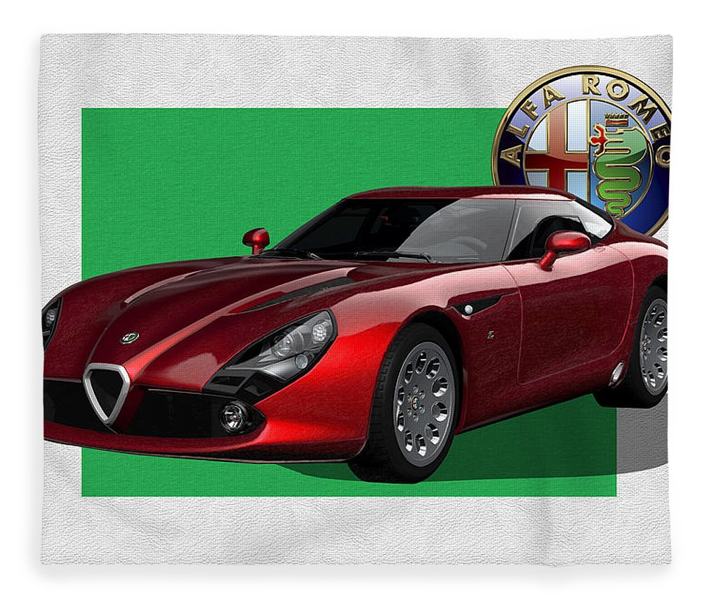 �alfa Romeo� By Serge Averbukh Fleece Blanket featuring the photograph Alfa Romeo Zagato T Z 3 Stradale with 3 D Badge by Serge Averbukh