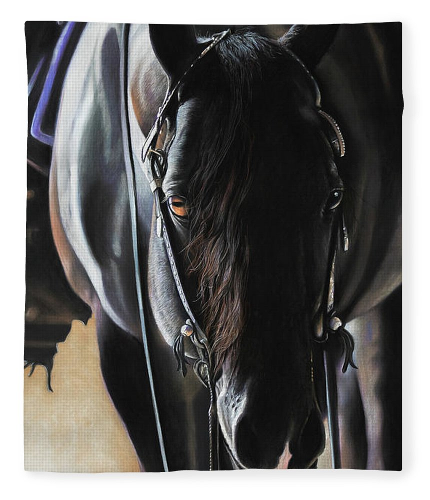 Aqha Fleece Blanket featuring the pastel Any Time...Any Place by Joni Beinborn