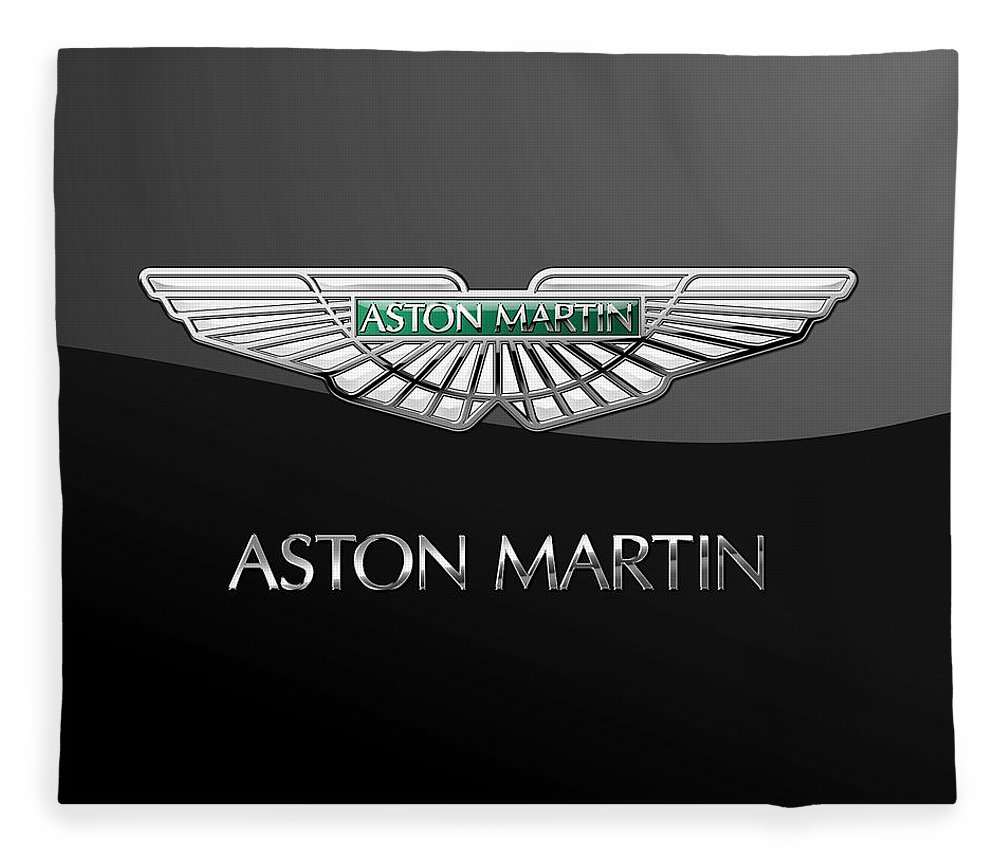 'wheels Of Fortune� Collection By Serge Averbukh Fleece Blanket featuring the photograph Aston Martin 3 D Badge on Black by Serge Averbukh