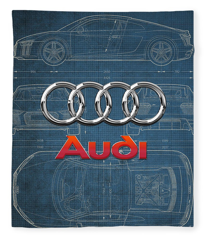 �wheels Of Fortune� Collection By Serge Averbukh Fleece Blanket featuring the photograph Audi 3 D Badge Over 2016 Audi R 8 Blueprint by Serge Averbukh