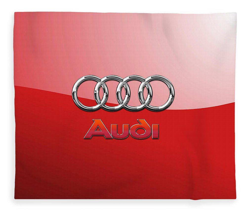 Wheels Of Fortune By Serge Averbukh Fleece Blanket featuring the photograph Audi - 3D Badge on Red by Serge Averbukh