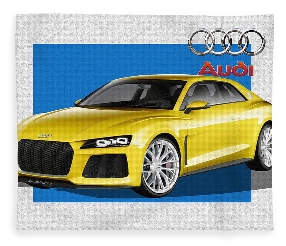 �audi� Collection By Serge Averbukh Fleece Blanket featuring the photograph Audi Sport Quattro Concept with 3 D Badge by Serge Averbukh