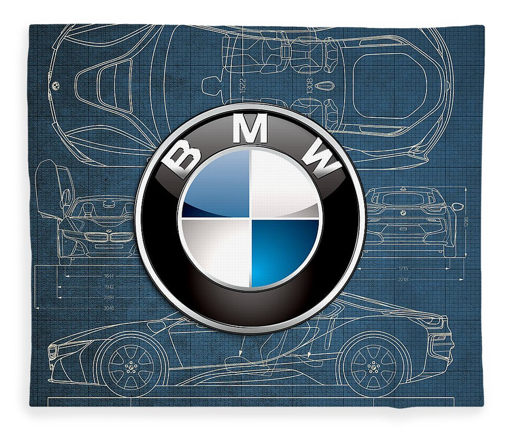 �wheels Of Fortune� By Serge Averbukh Fleece Blanket featuring the photograph B M W 3 D Badge over B M W i8 Blueprint by Serge Averbukh