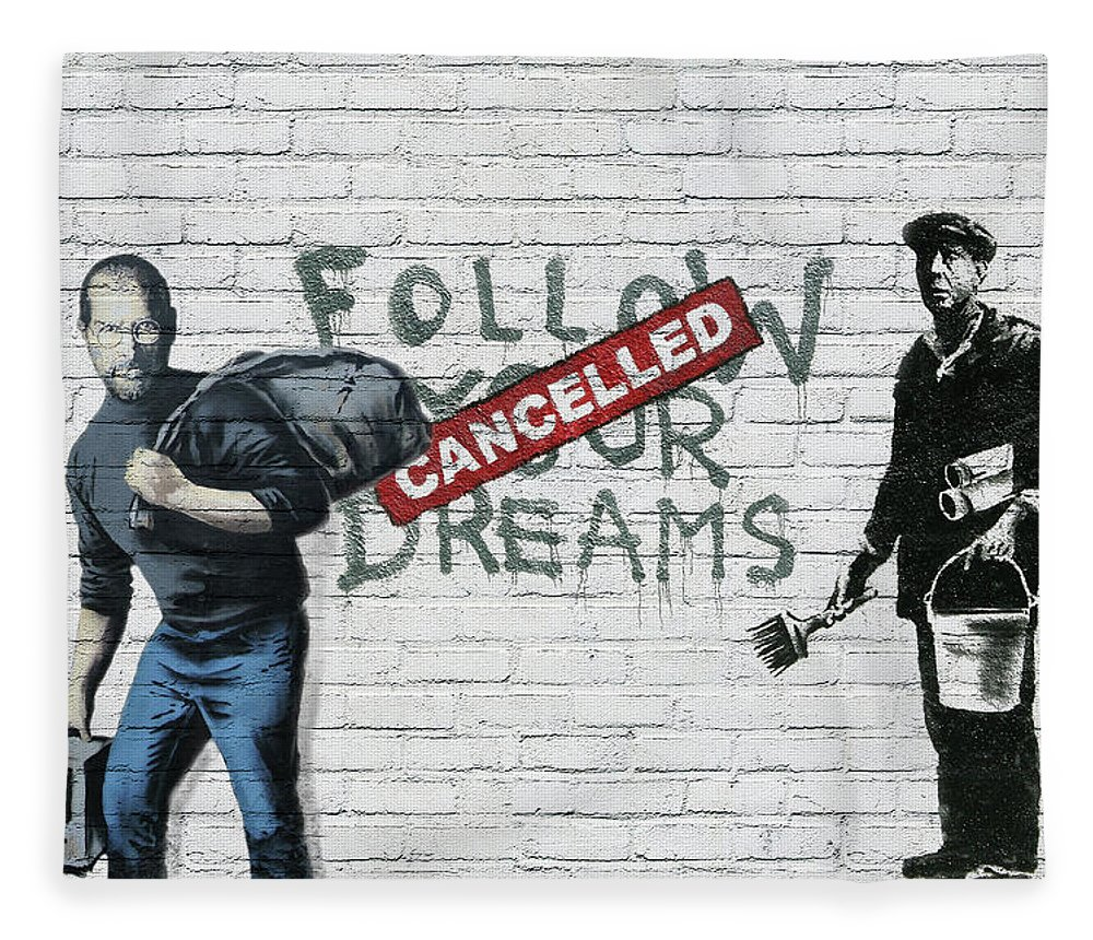 'urban Graffiti' Collection By Serge Averbukh Fleece Blanket featuring the photograph Banksy - The Tribute - Follow Your Dreams - Steve Jobs by Serge Averbukh