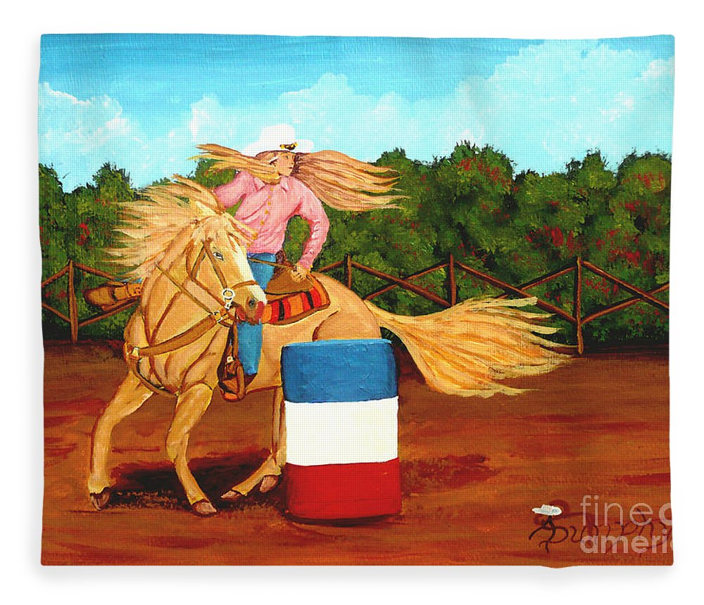 Rodeo Fleece Blanket featuring the painting Barrel Racer by Anthony Dunphy