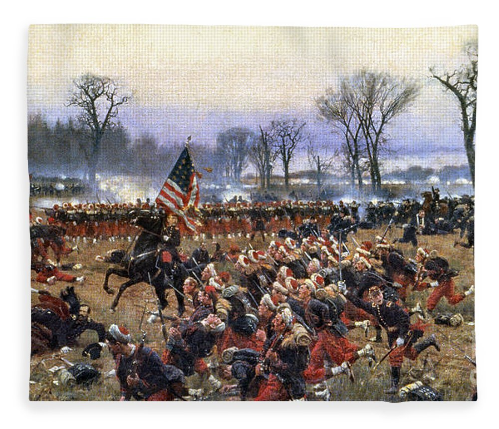 1862 Fleece Blanket featuring the painting Battle Of Fredericksburg - To License For Professional Use Visit Granger.com by Granger