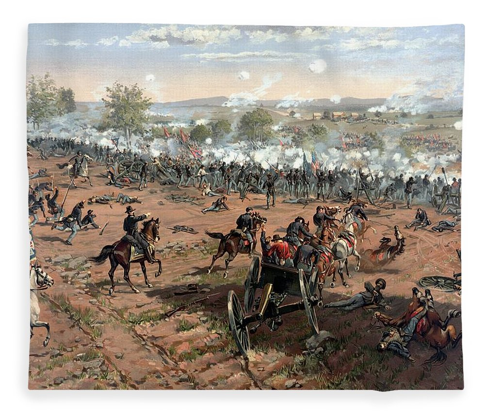 Civil War Fleece Blanket featuring the painting Battle Of Gettysburg by War Is Hell Store