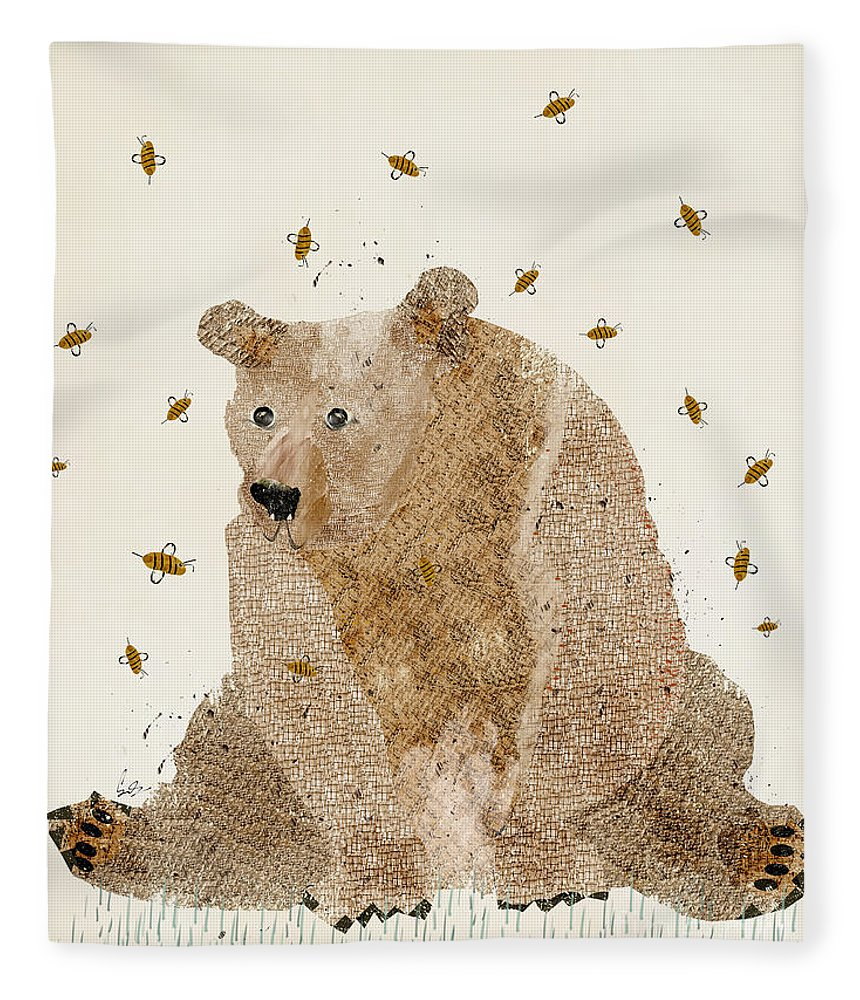 Bears Fleece Blanket featuring the painting Bear Grizzly by Bri Buckley