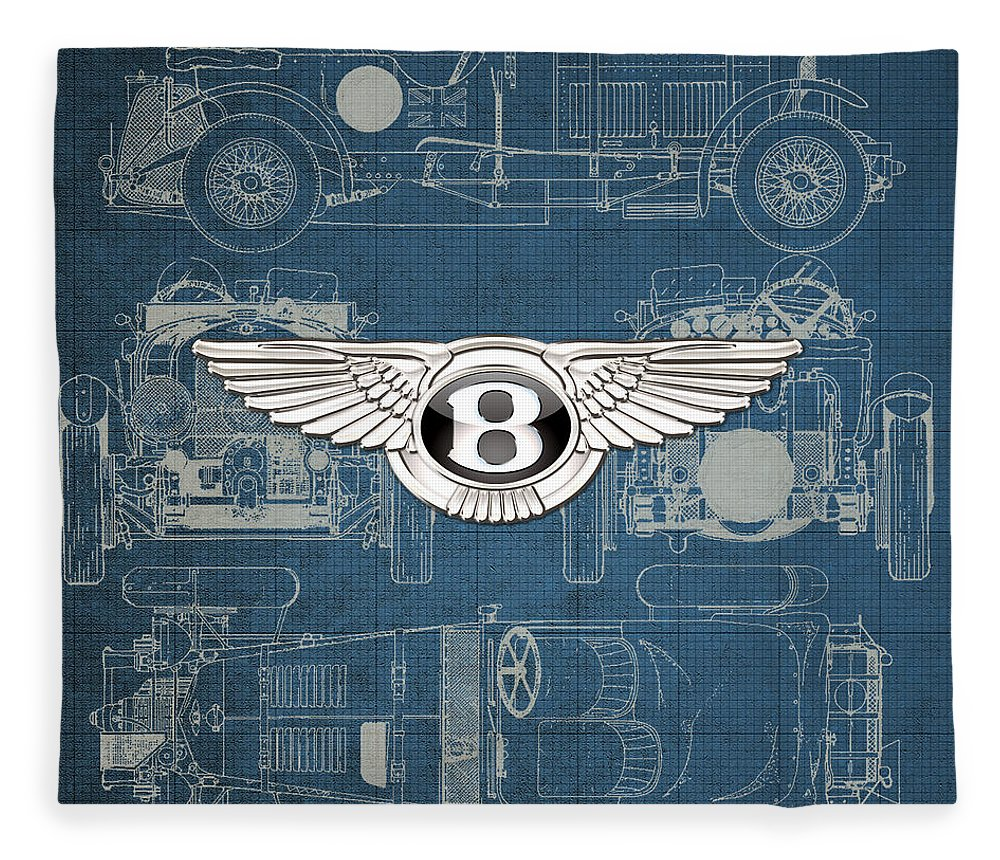�wheels Of Fortune� By Serge Averbukh Fleece Blanket featuring the photograph Bentley - 3 D Badge Over 1930 Bentley 4.5 Liter Blower Vintage Blueprint by Serge Averbukh