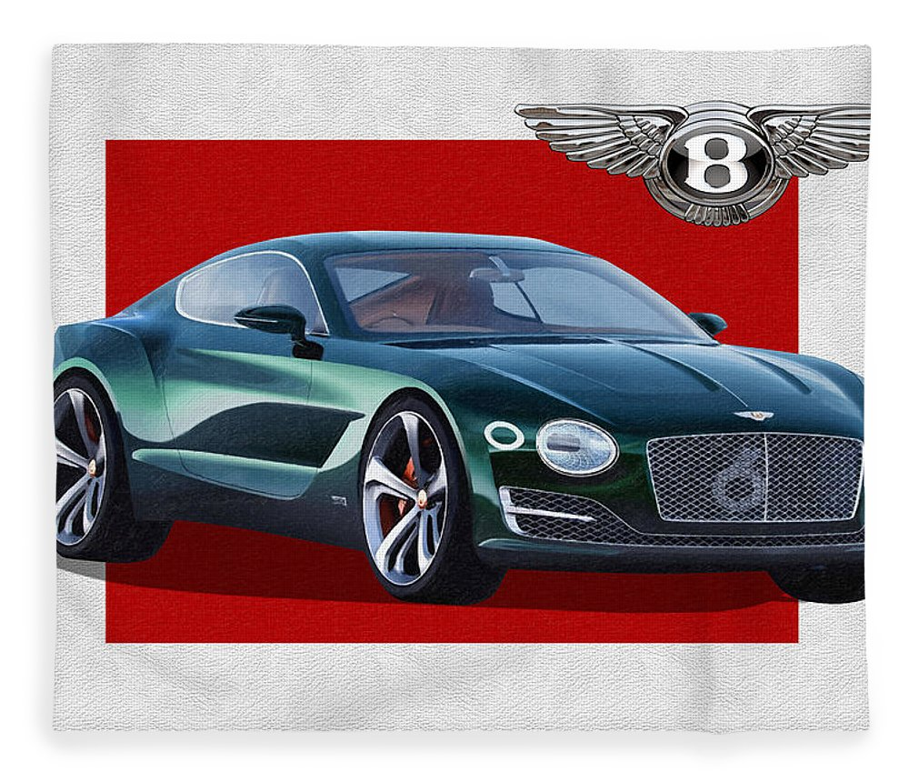 �bentley� Collection By Serge Averbukh Fleece Blanket featuring the photograph Bentley E X P 10 Speed 6 with 3 D Badge by Serge Averbukh