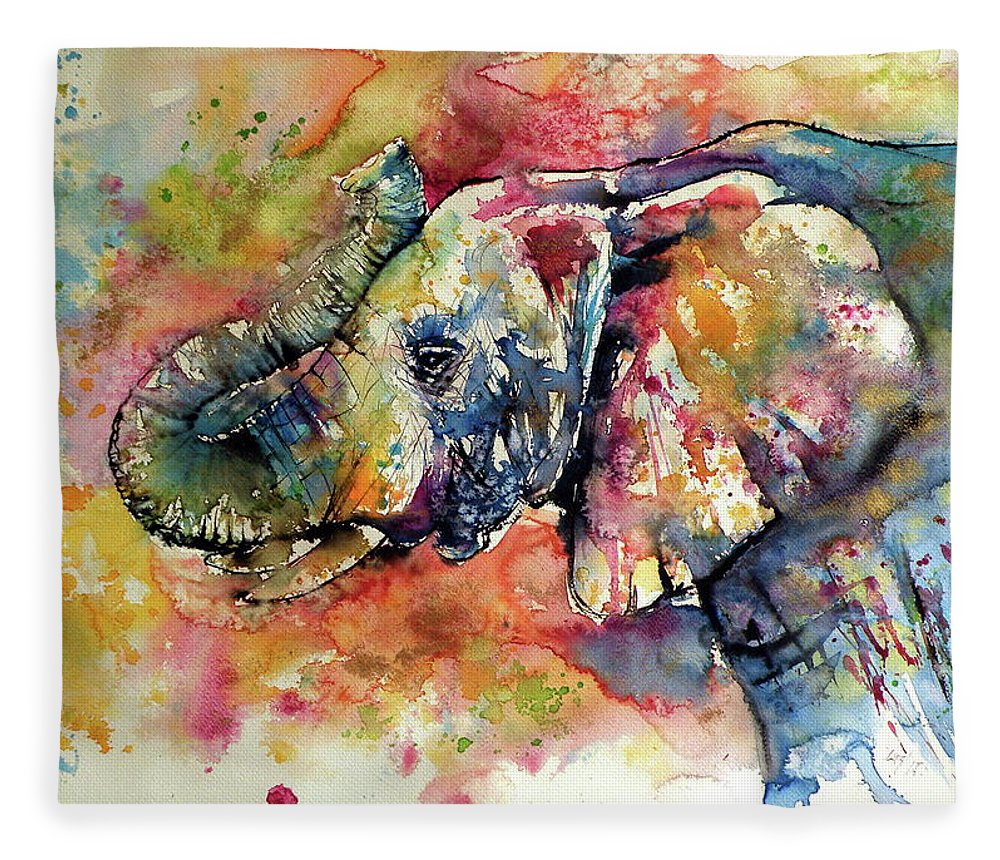 Elephant Fleece Blanket featuring the painting Big colorful elephant by Kovacs Anna Brigitta