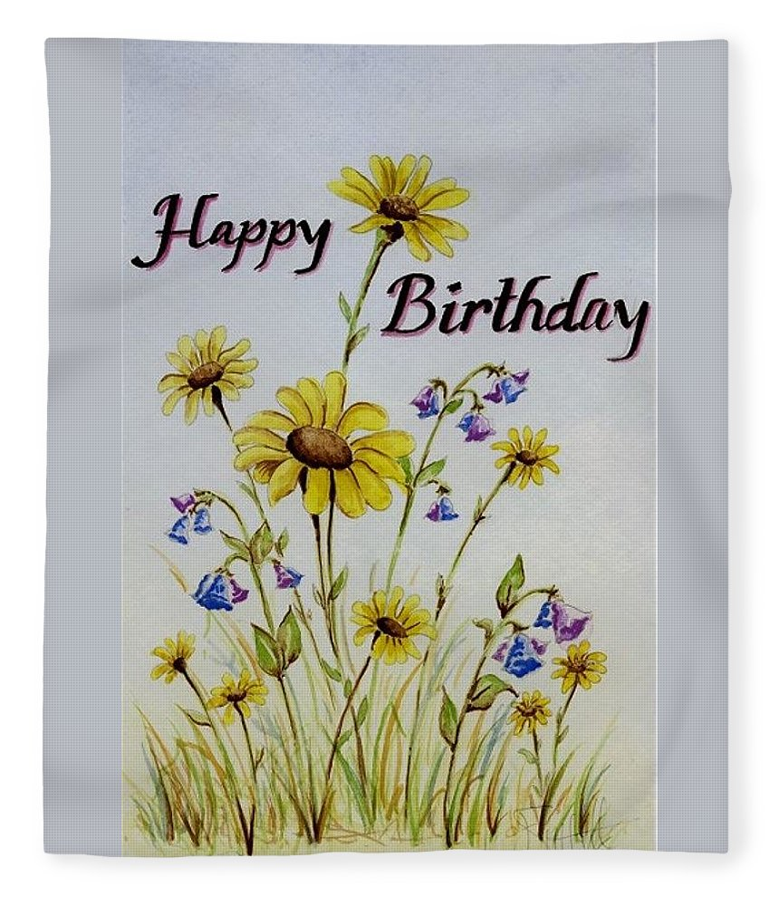 Card Fleece Blanket featuring the painting Birthday Card by Jimmy Smith